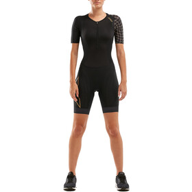 2XU Compression Combinaison à manches courtes Femme, black/gold